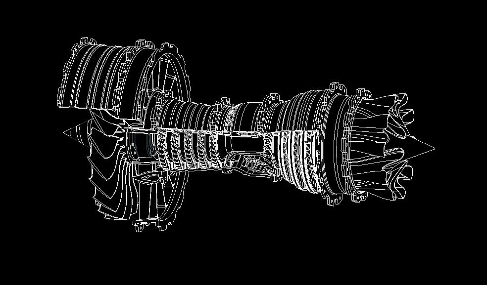 Drahtgittermodell einer Turbine für den 3D-Druck