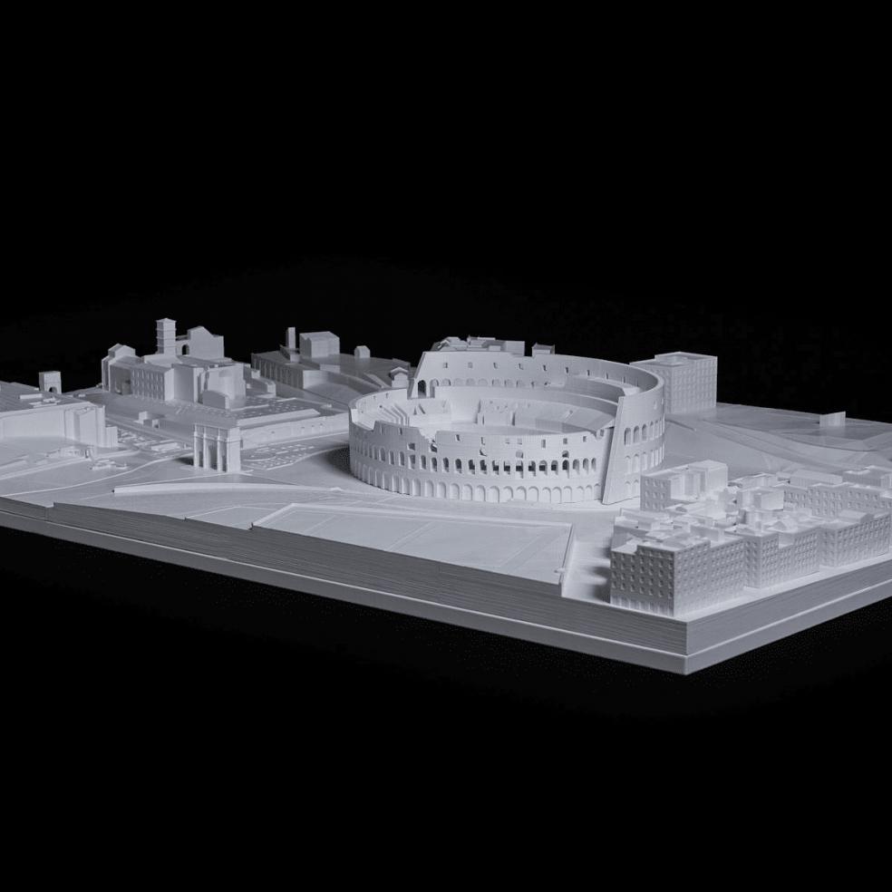 Architekturmodell von Rom gedruckt mit 3D Drucker in weiß
