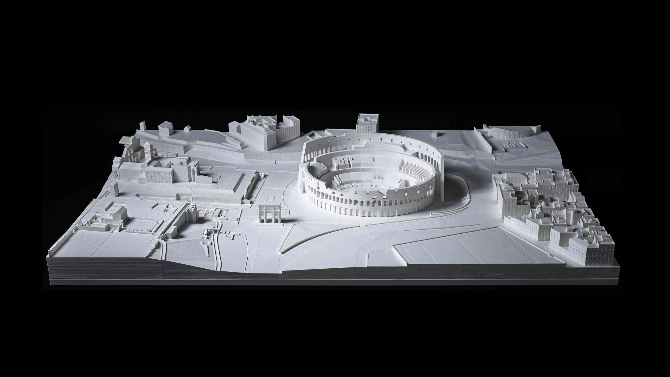 Architekturmodell von Rom in weiß mittels 3D-Druck gefertigt