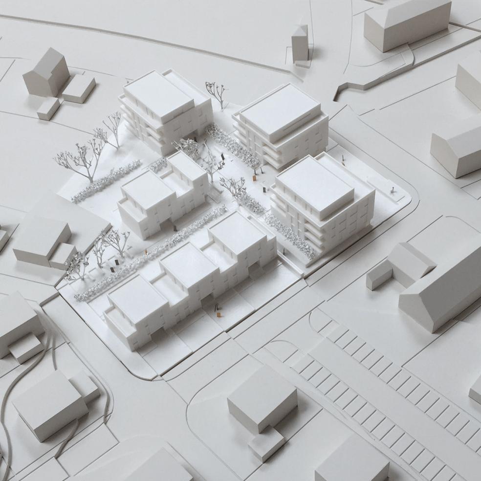 Nahaufnahme Einsatzplatte eines Architekturmodells in weiß und 3D gedruckt