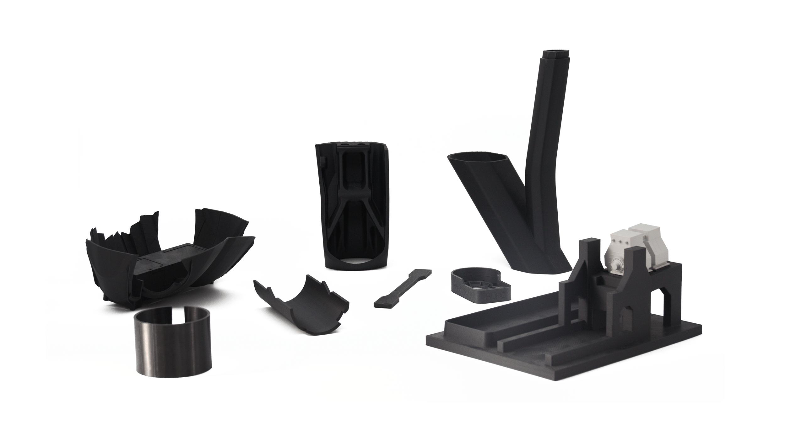 Bauteile mittels Rapid Prototyping Fertigungsverfahren herstellt in schwarz