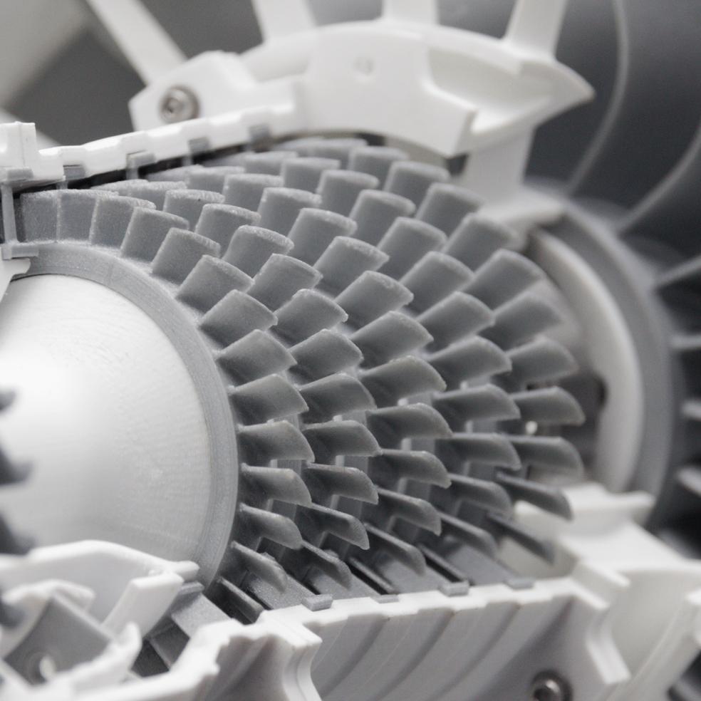 Nahaufnahme einer 3D gedruckten Turbine bei Formicore