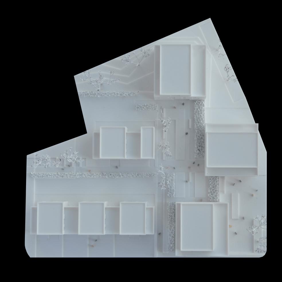 Draufsicht auf ein Architekturmodell 3D gedruckt