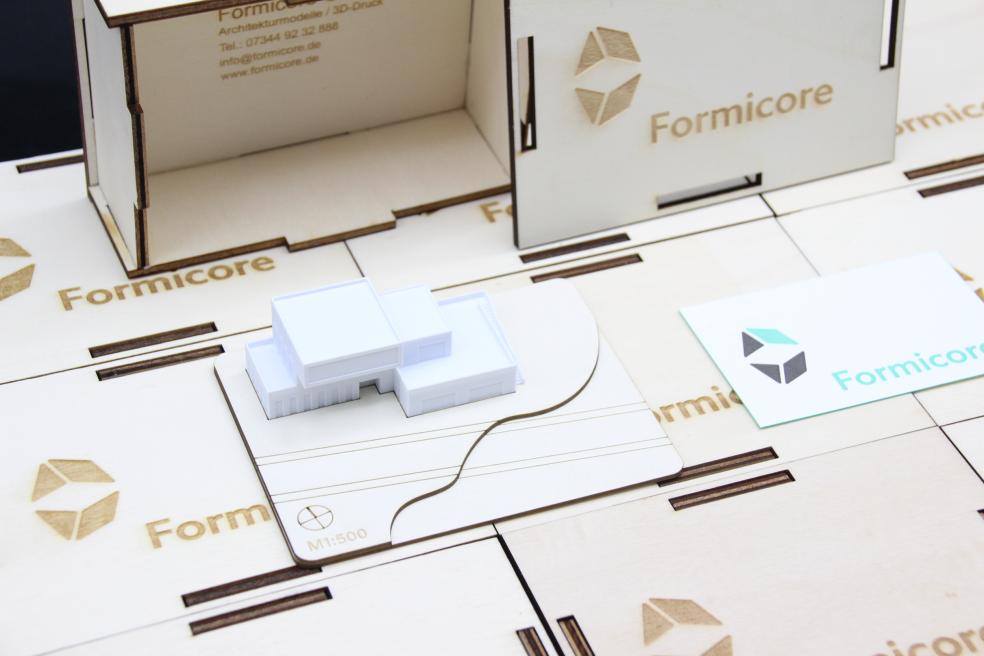 3D-Druck Musterbox von Formicore Holz und Kunststoff eines Architekturmodells