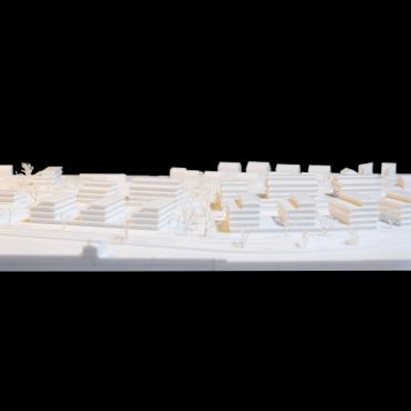 Frontansicht eines Wettbewerbsmodells für Architekten mit 3D Druck hergestellt