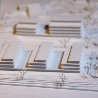 Detailaufnahme eines 3D gedruckten Architekturmodells