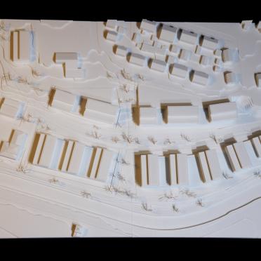Draufsicht auf ein Architekturmodell in weißem Kunststoff von Formicore