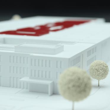 Architekturmodell mit additiver Fertigung eines Firmengebäudes