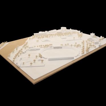 Umgebungsmodell Frontansicht für Architekten zur Beurteilung der Stadtentwicklung