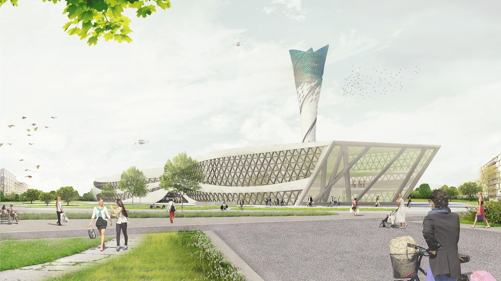 Rendering Architekturmodell eines Gebäudes