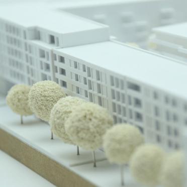 Wettbewerbsmodell in Kassel Nahaufnahme der Fassade
