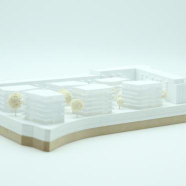 Ansicht auf ein Architekturmodell in weiß in Kassel