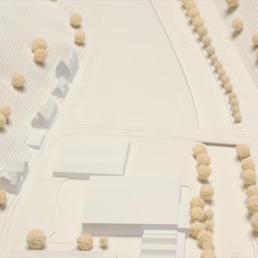 Draufsicht eines Architekturmodells für einen Wettbewerb