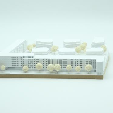 Architekturmodell in weiß für einen Architekturwettbewerb
