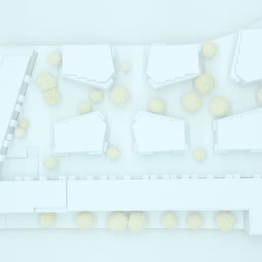 Draufsicht auf ein Architekturmodells eines Wettbewerbs für Architekten