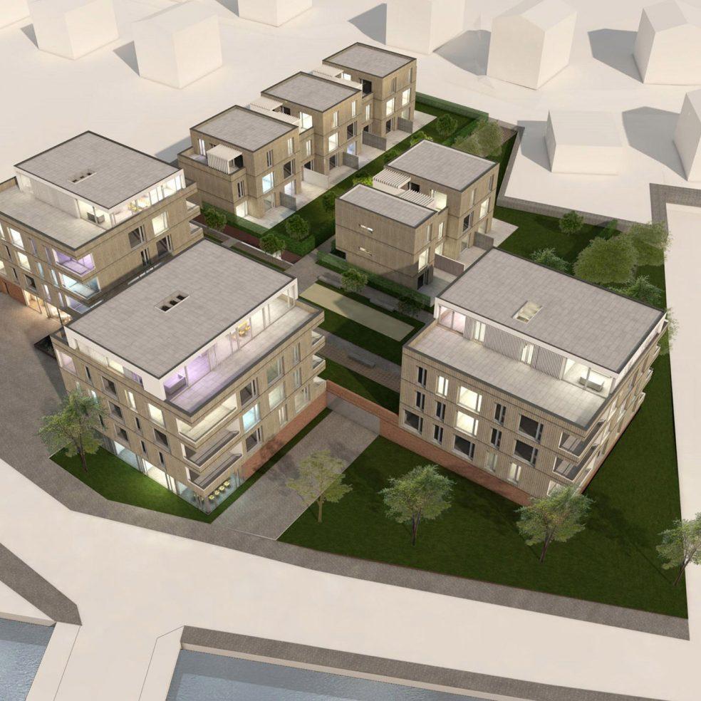 Rendering eines Architekturmodells mit mehreren Häusern