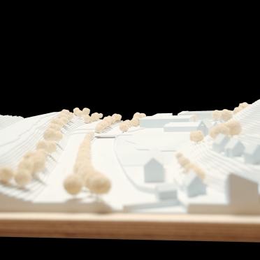 Umgebungsmodell Architektur in weiß mit Einsatzplatte